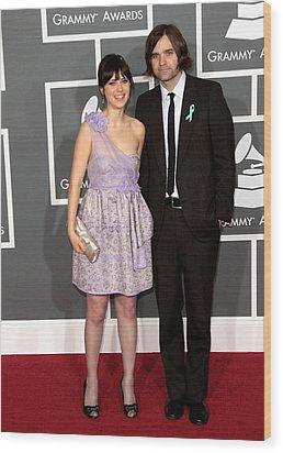 Zooey Deschanel Wearing A Luella Dress Wood Print by Everett