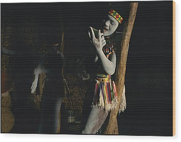 Zulu Women Put On Body And Facial Wood Print by Chris Johns