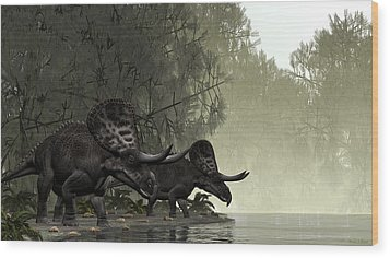 Wood Print featuring the painting Zuniceratops by Walter Colvin