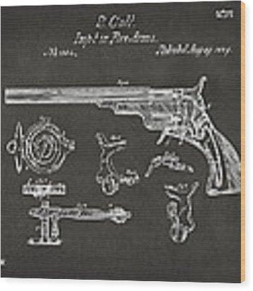 1839 Colt Fire Arm Patent Artwork - Gray Wood Print
