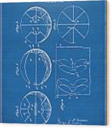 1929 Basketball Patent Artwork - Blueprint Wood Print