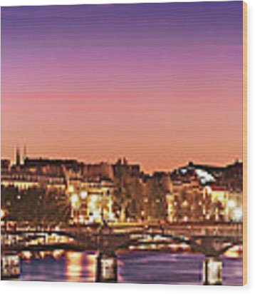 Left Bank At Night / Paris Wood Print by Barry O Carroll