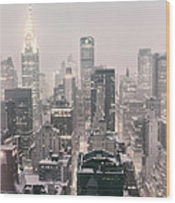 New York City - Snow Covered Skyline Wood Print by Vivienne Gucwa