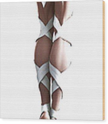 White Ribbons Wood Print by Sandra Bauser Digital Art