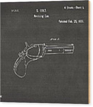 1836 First Colt Revolver Patent Artwork - Gray Wood Print