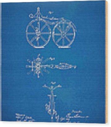 1866 Velocipede Bicycle Patent Blueprint Wood Print