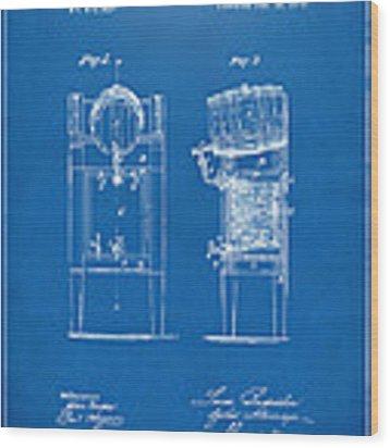 1876 Beer Keg Cooler Patent Artwork Blueprint Wood Print by Nikki Marie Smith