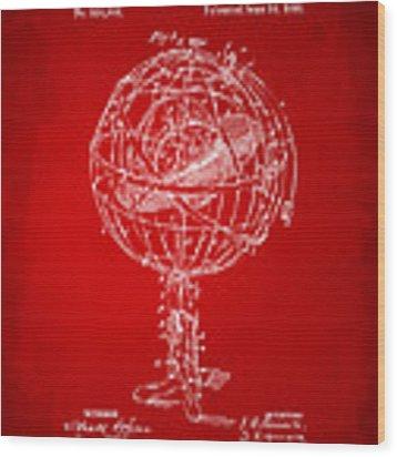 1885 Terrestro Sidereal Sphere Patent Artwork - Red Wood Print
