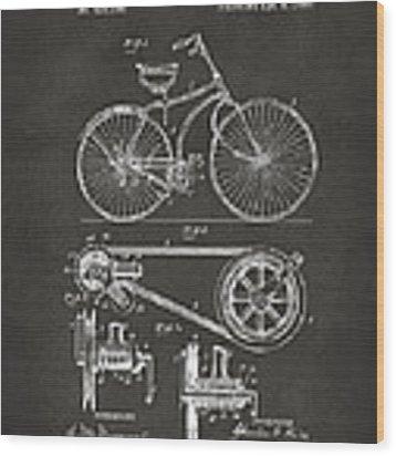 1890 Bicycle Patent Artwork - Gray Wood Print
