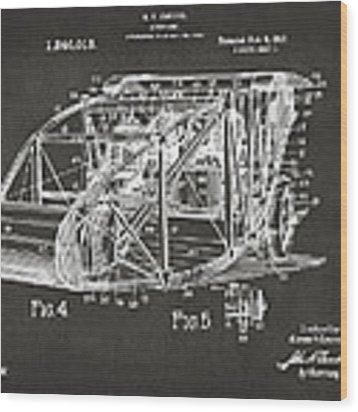 1917 Glenn Curtiss Aeroplane Patent Artwork 3 - Gray Wood Print