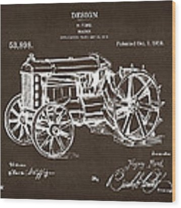1919 Henry Ford Tractor Patent Espresso Wood Print by Nikki Marie Smith