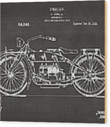 1919 Motorcycle Patent Artwork - Gray Wood Print by Nikki Marie Smith