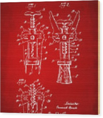 1928 Cork Extractor Patent Artwork - Red Wood Print by Nikki Marie Smith