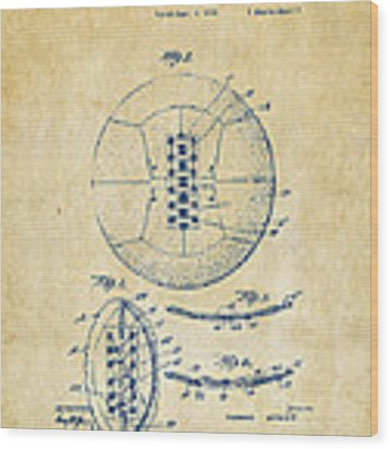 1928 Soccer Ball Lacing Patent Artwork - Vintage Wood Print
