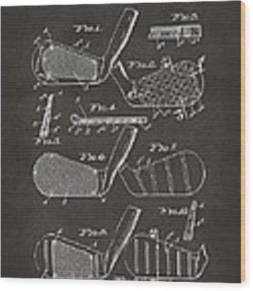 1936 Golf Club Patent Artwork - Gray Wood Print by Nikki Marie Smith