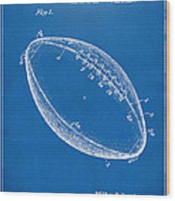 1939 Football Patent Artwork - Blueprint Wood Print by Nikki Marie Smith