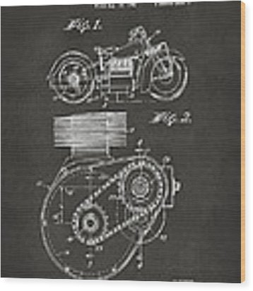 1941 Indian Motorcycle Patent Artwork - Gray Wood Print by Nikki Marie Smith