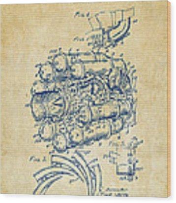 1946 Jet Aircraft Propulsion Patent Artwork - Vintage Wood Print