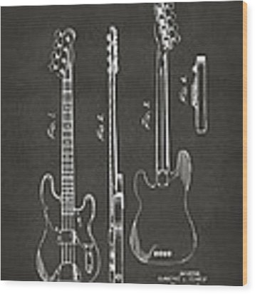 1953 Fender Bass Guitar Patent Artwork - Gray Wood Print by Nikki Marie Smith