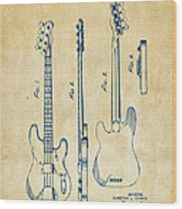 1953 Fender Bass Guitar Patent Artwork - Vintage Wood Print by Nikki Marie Smith