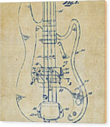 1961 Fender Guitar Patent Minimal - Vintage Wood Print by Nikki Marie Smith