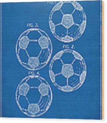 1964 Soccerball Patent Artwork - Blueprint Wood Print