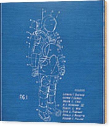 1973 Space Suit Patent Inventors Artwork - Blueprint Wood Print