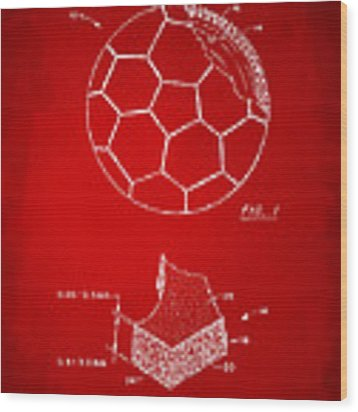 1996 Soccerball Patent Artwork - Red Wood Print by Nikki Marie Smith