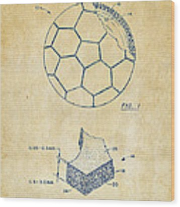 1996 Soccerball Patent Artwork - Vintage Wood Print by Nikki Marie Smith