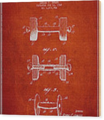 Dumbbell Patent Drawing From 1927 Wood Print by Aged Pixel