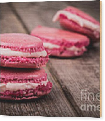Raspberry Macarons Retro Wood Print