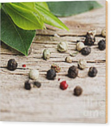 Kitchen Herbs Wood Print by Nailia Schwarz