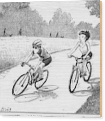 A Woman Casually Riding A Bicycle Addresses A Man Wood Print by Harry Bliss