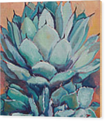 Agave With Pups Wood Print