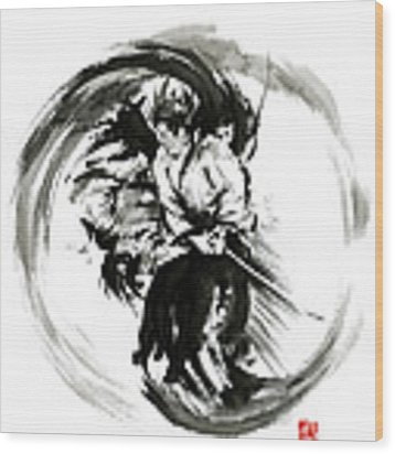 Aikido Techniques Martial Arts Sumi-e Black White Round Circle Design Yin Yang Ink Painting Watercol Wood Print