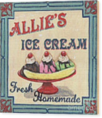 Allie's Ice Cream Wood Print