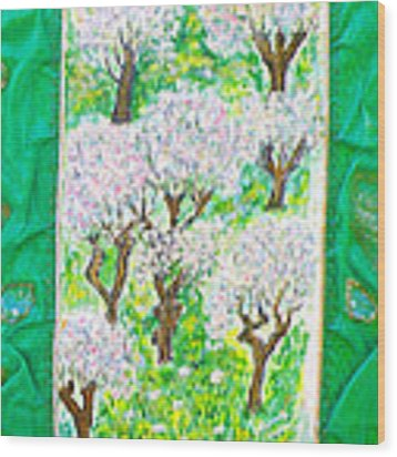 Almond Trees And Leaves Wood Print by Augusta Stylianou