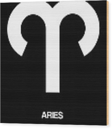 Aries Zodiac Sign White Wood Print