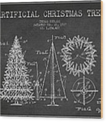 Artifical Christmas Tree Patent From 1927 - Charcoal Wood Print by Aged Pixel