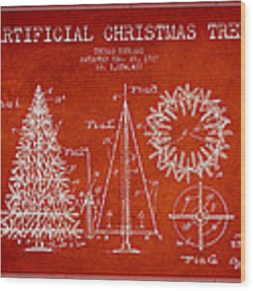 Artifical Christmas Tree Patent From 1927 - Red Wood Print by Aged Pixel