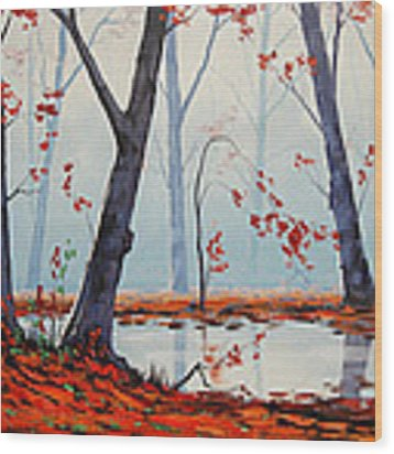 Autumn River Painting Wood Print by Graham Gercken