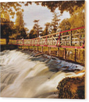 Autumn Waterfall / Maynooth Wood Print by Barry O Carroll