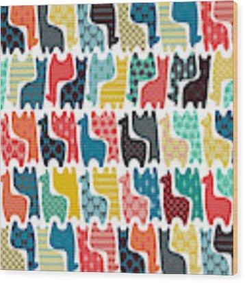 Baby Llamas Wood Print by MGL Meiklejohn Graphics Licensing