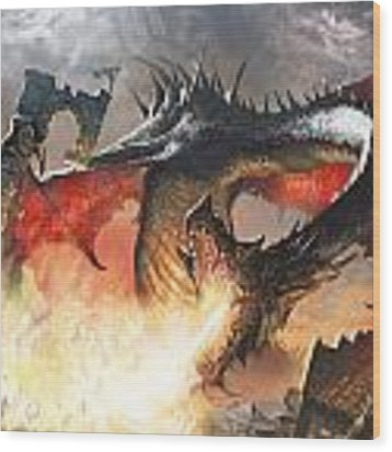 Balerion The Black Wood Print by Ryan Barger