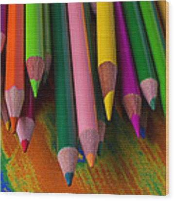 Beautiful Colored Pencils Wood Print