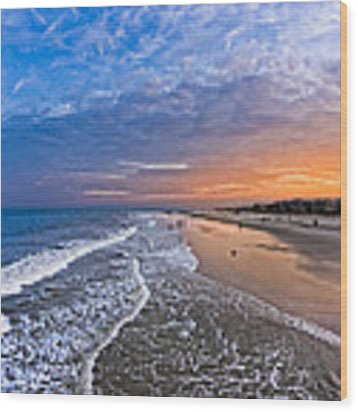 Beautiful Sunset Over Tybee Island Wood Print by Mark E Tisdale