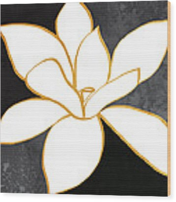 Black And Gold Magnolia- Floral Art Wood Print by Linda Woods