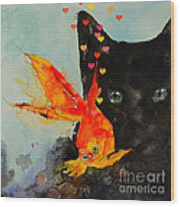 Black Cat And The Goldfish Wood Print