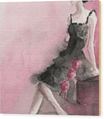Black Ruffled Dress With Roses Fashion Illustration Art Print Wood Print by Beverly Brown
