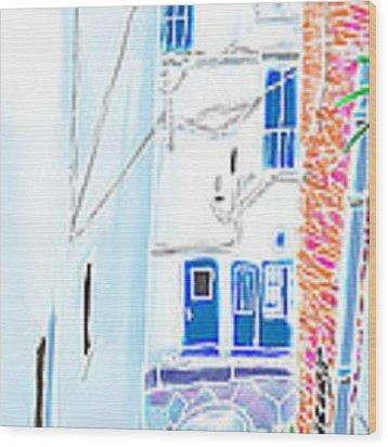 Blue Doors Wood Print by Hisayo Ohta